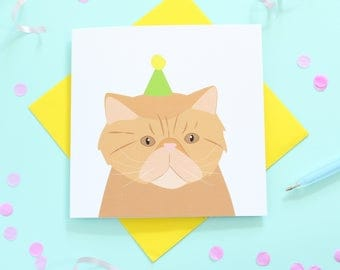 Birthday Persian Cat card