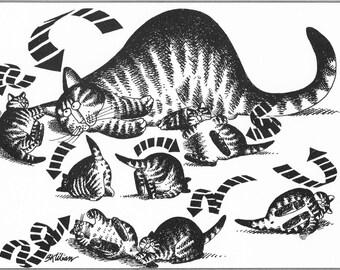 Kliban Cat Original Vintage Art Print - Playful Cats