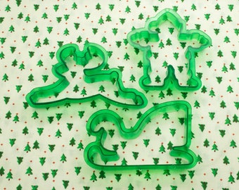 Vintage 3 Pc. Green Transparent Christmas Cookie Cutters