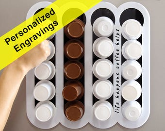 Personalized Engraving White Keurig Storage Dispenser, Custom Quote Gift K Cup Holder, Coffee Pod Organizer Magnetic Storage Unit Wall Mount