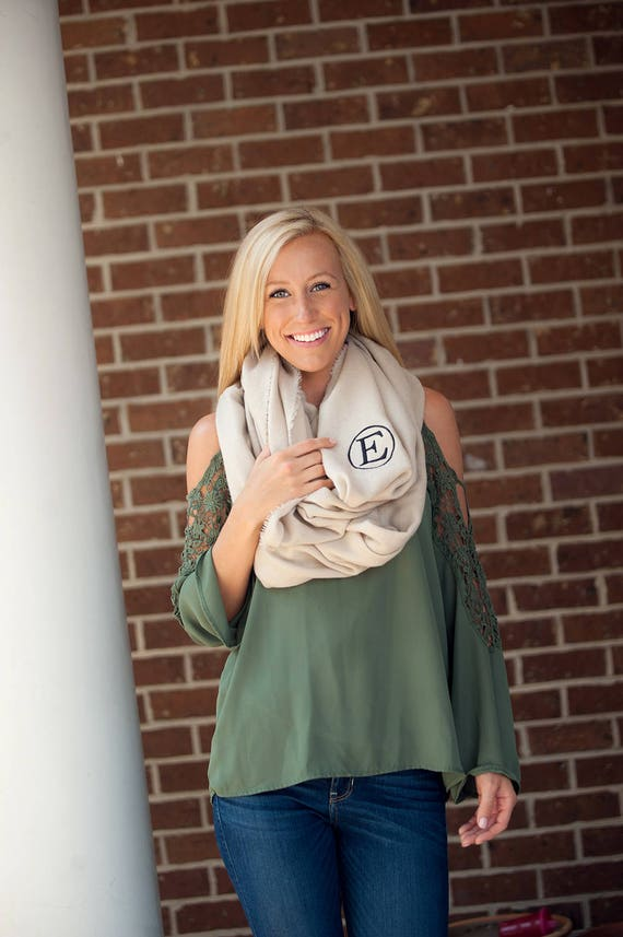 Monogrammed Infinity Scarf - Creme