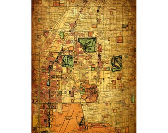 LAS VEGAS Vintage Map 15E- Personalized Leather Journal Cover Moleskine Field Notes Custom