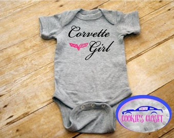 Corvette Girl Infant One Piece Bodysuit (creeper) Perfect for the Chevy Chevrolet Corvette car lover & their baby girl!