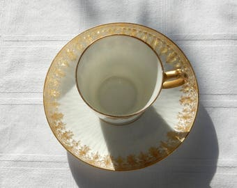 SALE Limoges Gilded Eggshell Porcelain Tea Cup and Saucer - LS & S Demitasse Cup Set - Lewis, Straus and Sons Small Antique Teacup L.S S.