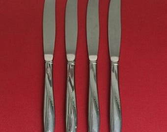 Set Of 4 Vintage 60's Oneida Twin Star Pattern Knives - Community Stainless Flatware - Dinner Knives - Hollow Handle - Atomic Dinner Knives