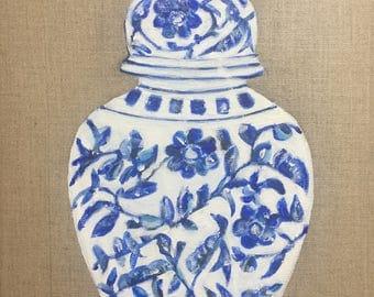 "Original Acrylic Painting  ""Blue & White Ginger Jar"". 11 x 14  ***Free Shipping!***"