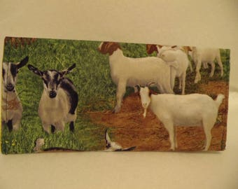 Check book covers note coupon holders goats farm scene animals new handmade