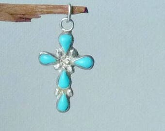 Sterling Silver Turquoise Cross Pendant Small Cross, Silver Blue Cross Turquoise 925 Vintage Pendant, Religious Cross Small  Blue Turquoise