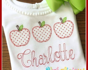 Apple with Blanket Stitch Applique Design- Digitized Embroidery Design