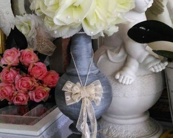 Old lamp base restyled Cup shabby chic floral