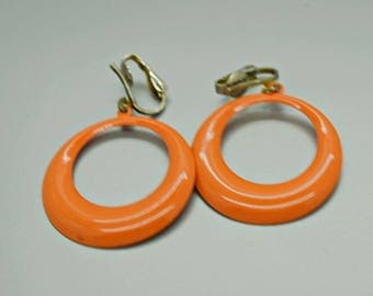 Orange Hoop Clip on Earrings