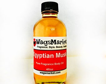 Egyptian Musk Oil, 4oz Glass Bottle, 100% Pure and Thick Musk Perfume Oil ***Free Shipping In U.S.***