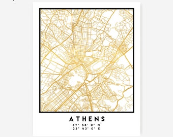 Athens Map Coordinates Print - Greece City Street Map Art Poster, Gold Athens Map Print, Athens Greece Coordinates Greek Poster Map
