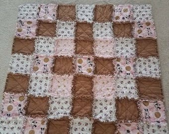 Rag Quilt, Cotton Material 45 1/2 × 45 1/2