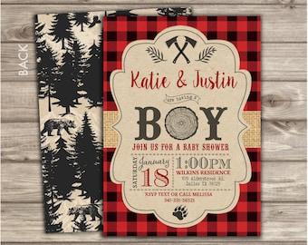 Lumberjack Baby Shower Invitations Boy Shower invites Buffalo Plaid NV8754