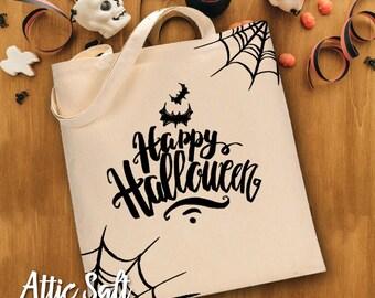 Happy Halloween Tote, Trick or Treat Bag, Halloween Treat Bag, Halloween Bag