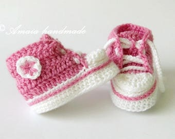 Crochet Baby Sneakers, Crochet Sneakers, Baby Girl Converse, Baby Girl Sneakers, Pink Sneakers for Newborn to12 Months, Made to order