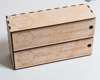 Personalised Wine Box - 2 Bottle - Wedding Gift - Custom Wine Box
