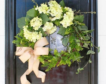 On Sale Summer Wreath for Front Door, Hydrangea Wreath with Bow, Rustic Grapevine Wreath, Fern Wreath, Everyday Wreath, Door Wreath for Summ