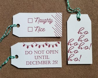 Letterpressed Holiday Gift Tags- Set of 9