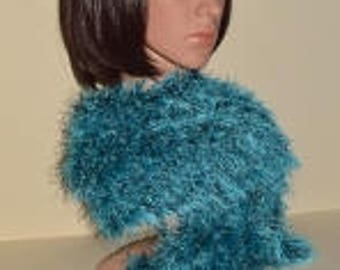A New Hand Knitted Turquoise And Black Scarf .(HK10).