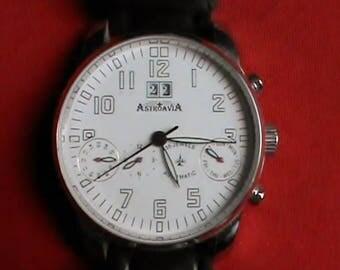Military grade pilots Astroavia 35 jewel self winding chronograph watch