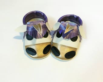 Metallic gold unicorn shoes