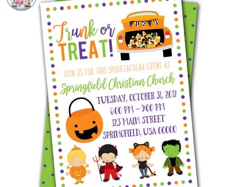 Trunk or Treat Invitation, Trunk or Treat Flyer, Trunk or Treat Invite, Halloween Party