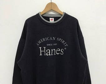 BIG SALE Vintage Hanes Sweatshirt/Hanes Blue Sweater/Hanes Sportwear/Hanes Shirt