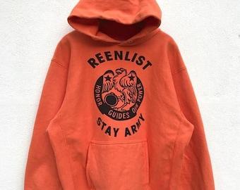 """20% OFF Vintage Reenlist Stay Army Hoodie / Army Hoodie / Orange Hoodie / Armpit 23"""""""