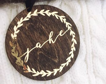 Wood Christmas Ornament,First name Christmas Ornaments,Ornament,Personalized Gift,Dark Stained Wood Ornament,Gold Ornament,gift idea,wreath
