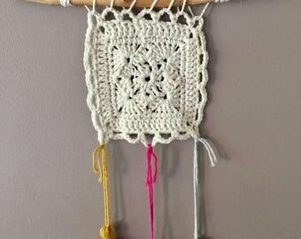 """""""Bohemian"""" ecru crochet wall hanging"""