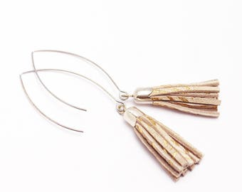 Christmas gift women - pink blush and gold leather tassel earrings plated silver