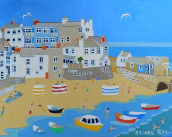St Ives, Cornwall, Original Painting by Richard Lodey, Association of British Naive Artists