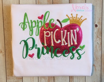 Apple Picking Shirt, Apple Pickin' Princess, Embroidered Apple Pickin shirt for girls, Girls Hot Pink Fall Apple Orchard top