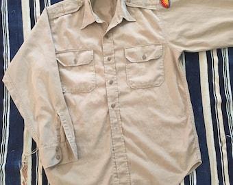 1950s US Military Poplin Shirt Mens Size M/L Worn In