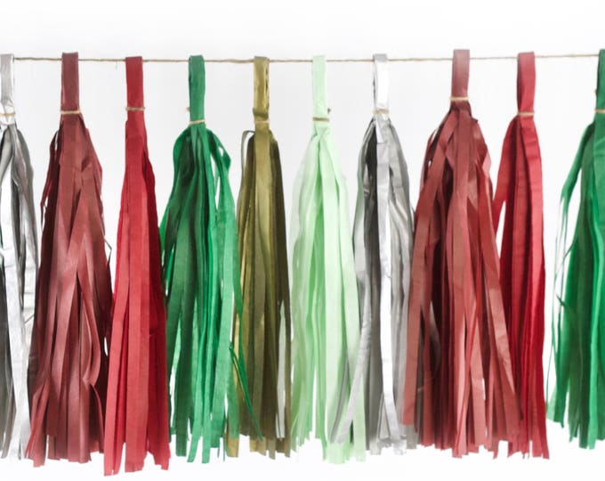 Enchanted Christmas Tassels, Tissue Tassels, Tassel Banner, Christmas Party Decor, DIY Tassels, Baby Shower Wedding Seasonal Holiday Garland