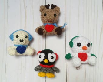 Merry Mini Pets Snow Edition Stuffed Animals Stocking Stuffers Mini Pets Winter Gift Set Christmas Decorations for kids