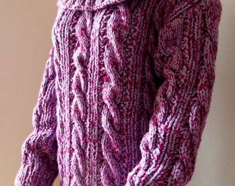 Irish sweater long cables, ribs, Openwork, wide neck loose T 42/44