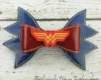 Amazing Woman Hair Bow - Cheer Bow - Red, Blue, Gold Bow - 7 inch - Specialty Bow - Hair Accessory - Hair Clip