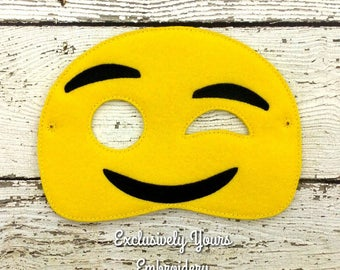 Wink Emoji Childrens Felt Mask  - Costume - Theater - Dress Up - Halloween - Face Mask - Pretend Play - Party Favor