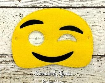 Wink Emoji Childrens Felt Mask  - Costume - Theater - Dress Up - Halloween - Face Mask - Pretend Play - Party Favor