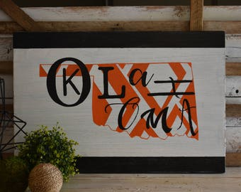 Oklahoma   State of Oklahoma   Custom Color Available   Geometric Pattern   Hand Painted   Home Decor
