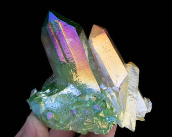 Free Shipping! Three-Color Aura Quartz Crystal Titanium Bismuth Silicon Cluster J250