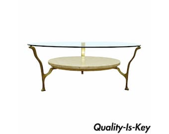 Vintage Hollywood Regency Marble Brass & Glass Mid Century Modern Coffee Table