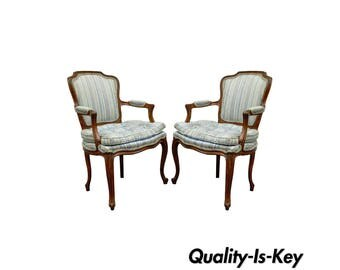 Pair of Vintage French Louis XV Style Fireside Lounge Dining Arm Chairs Fauteuil
