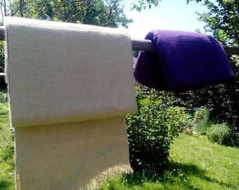 Hand woven wool fabric dyed with Indigo natural dye, 410 grams per meter