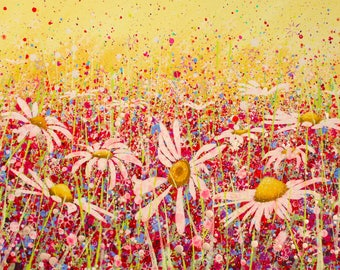 Celebrate !/original painting/flower painting/daisy canvas/meadow painting/wall art/spattered floral painting/bright meadow art/yellow