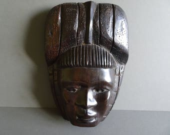 Vintage African Hardwood Carved Wall mask.  Quality. Circa 1980
