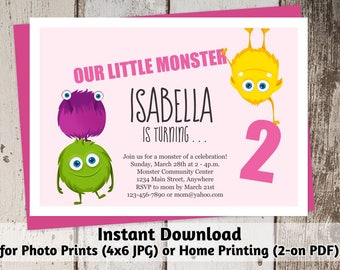 Printable Monsters Invitation - Girls First, Second, Third Birthday Party Invite Template - Instant Download Digital File > Photo Prints